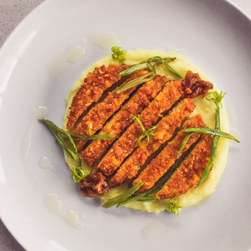 receta vegana vurger cornflakes proteina vegetal con parmentier de patatas