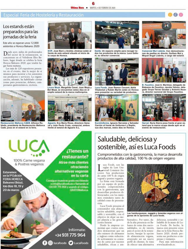 Saludable, deliciosa y sostenible, así es Luca Foods (Ultima Hora – Mallorca)